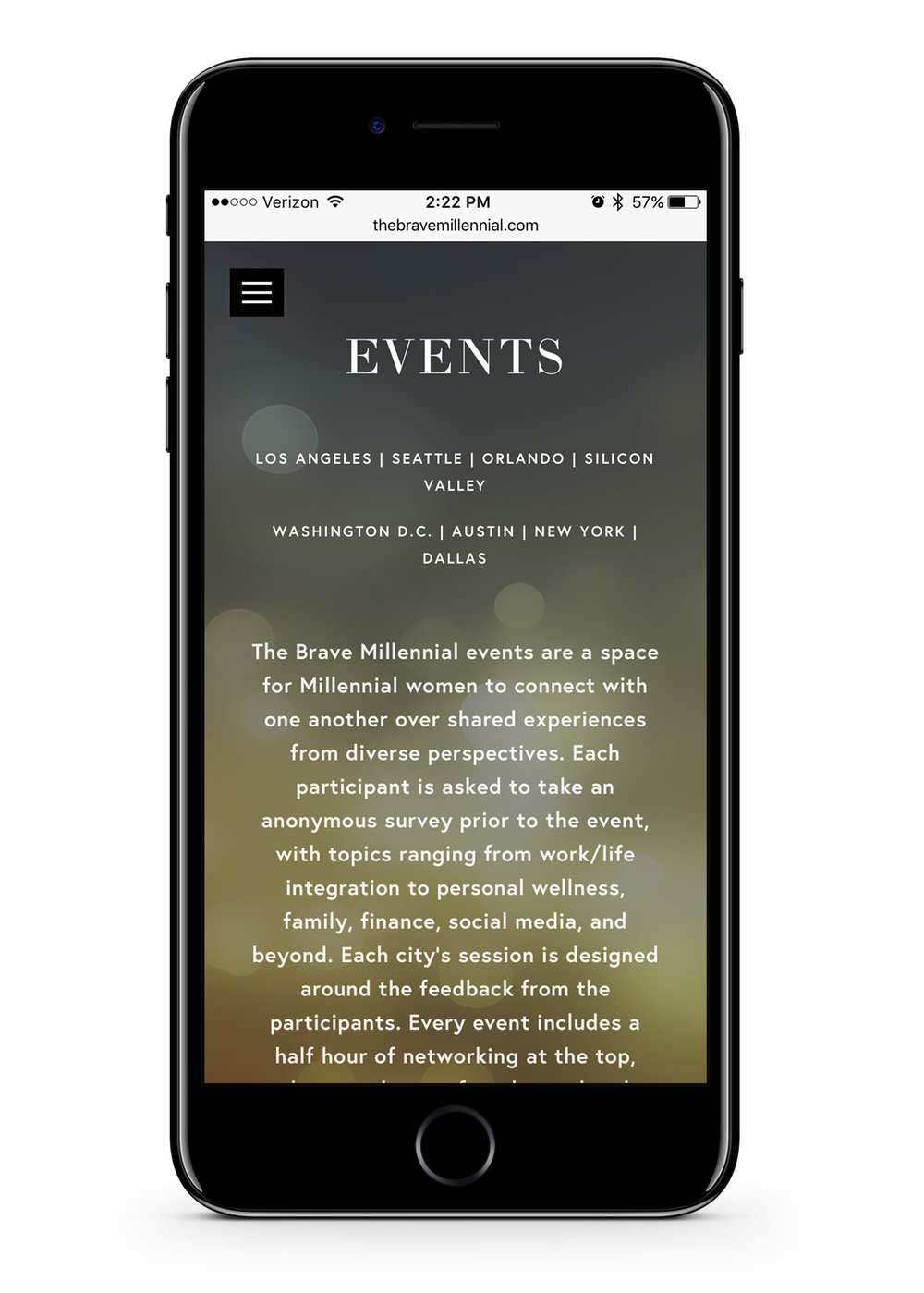 The brave Millennial mobile Events page