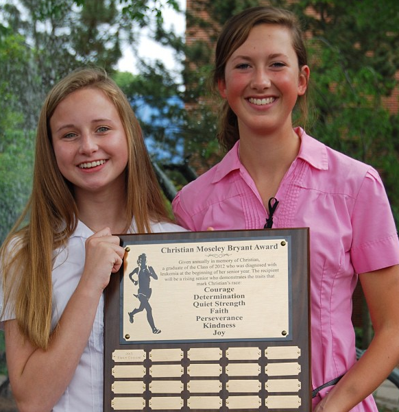Emily Cullum and Bailey Bryant, Emily is the Recipient of the 1st Christian Moseley Bryant Award at GPS