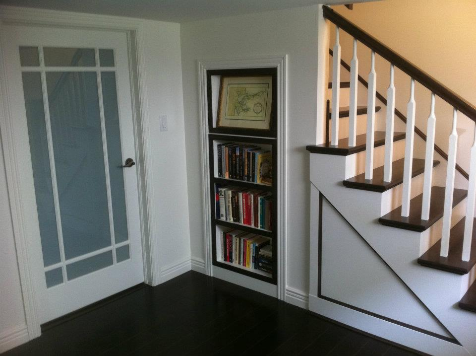 Custom stairs and storage shelf