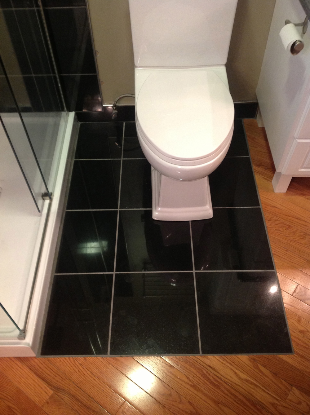 Tiled toilet floor