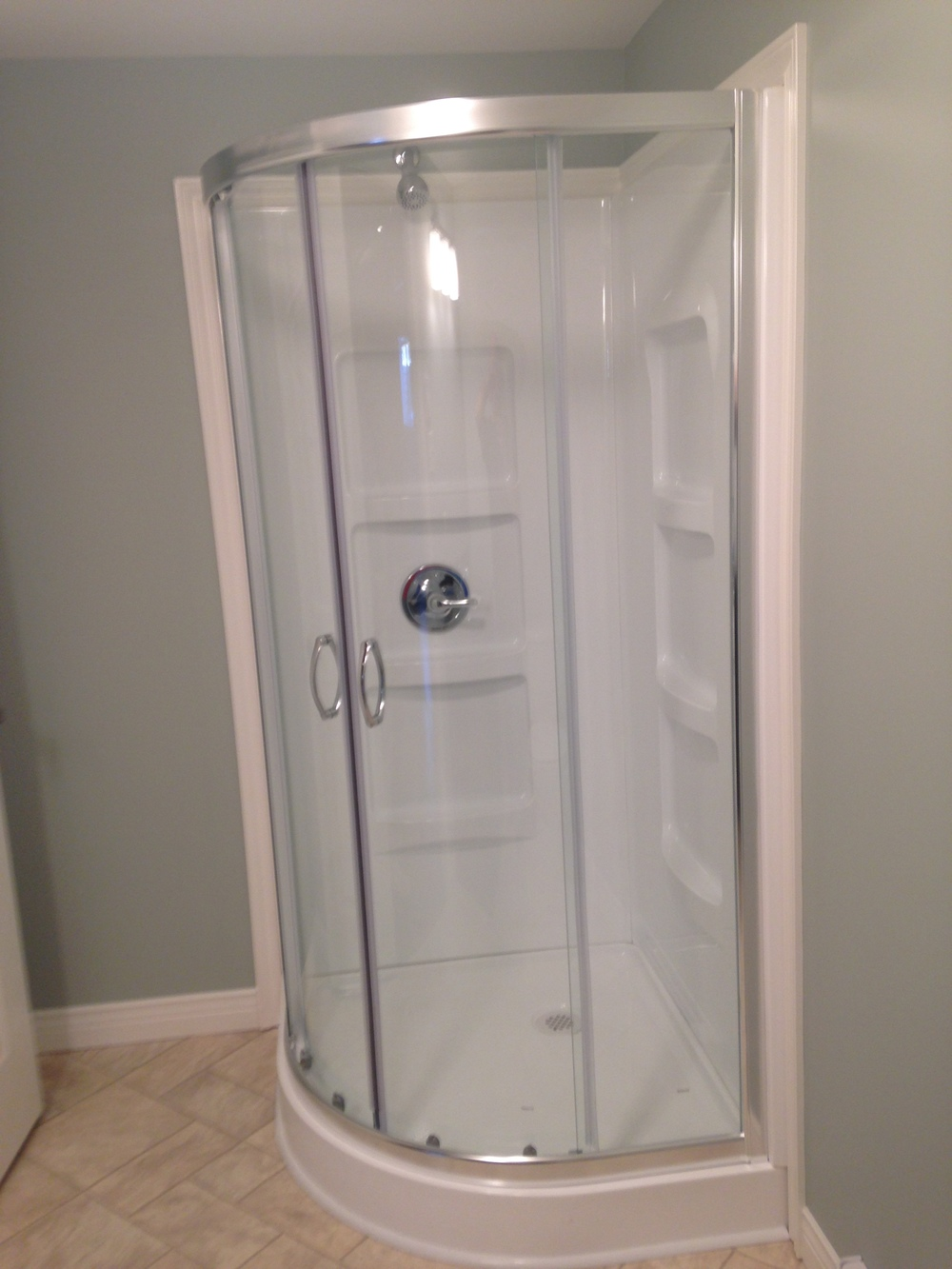 Acrylic shower in 3/4 bath