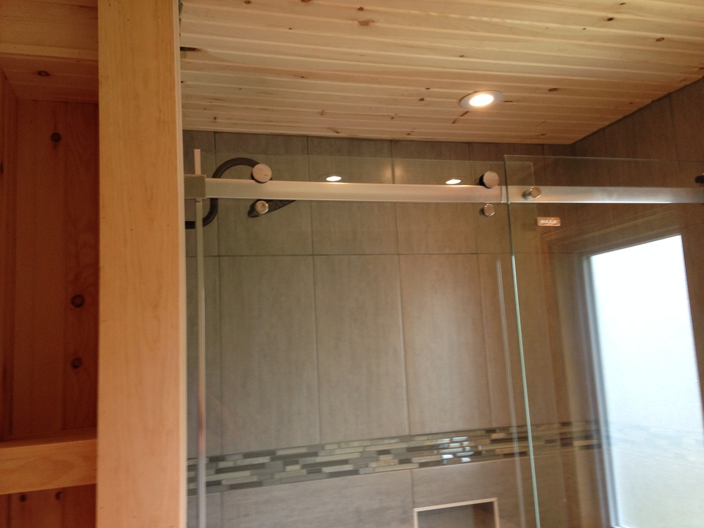 Pine ceiling and storage shelves