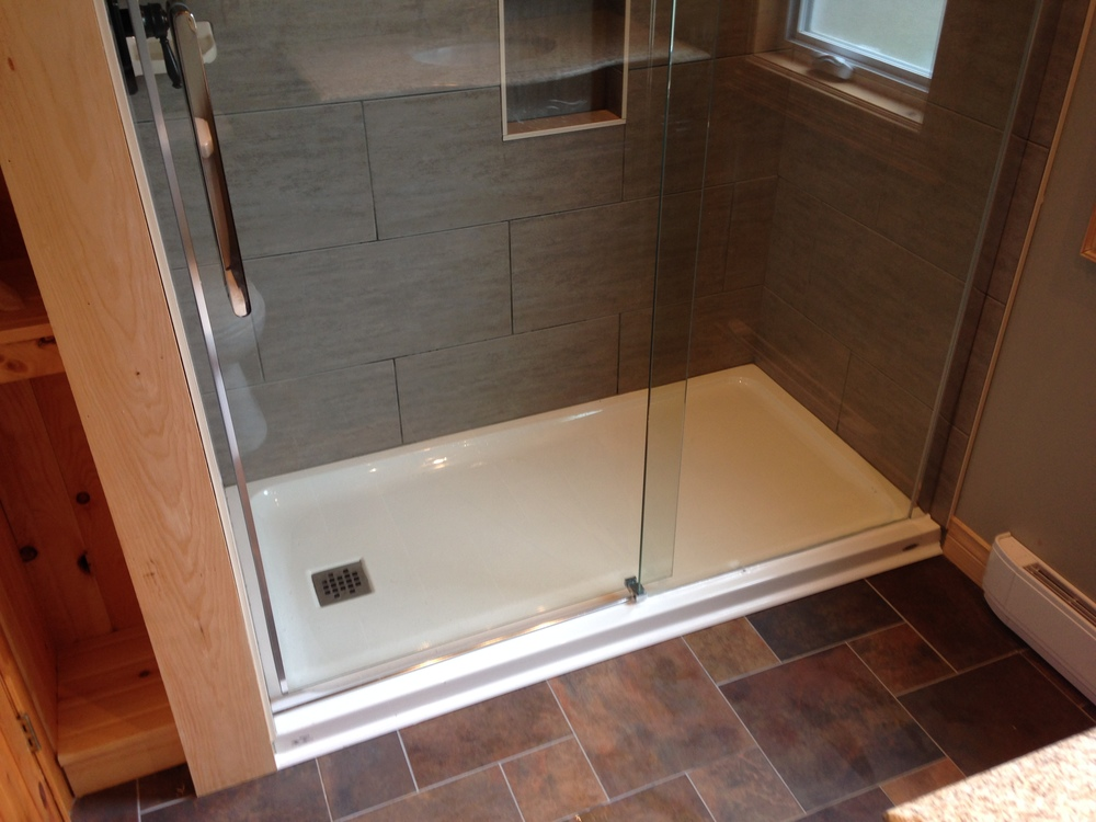 Acrylic base with glass sliding doors