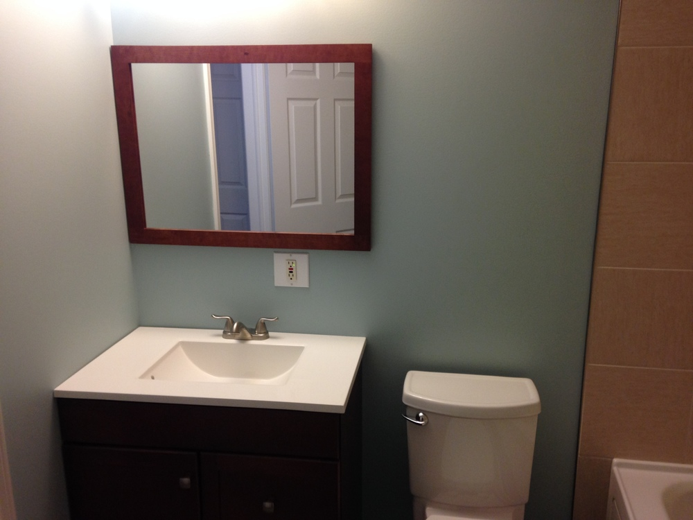 New mirror, vanity and toilet