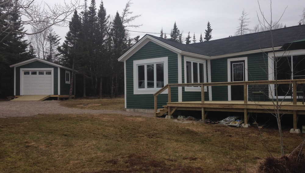 Wood siding and trims, new deck and shingles