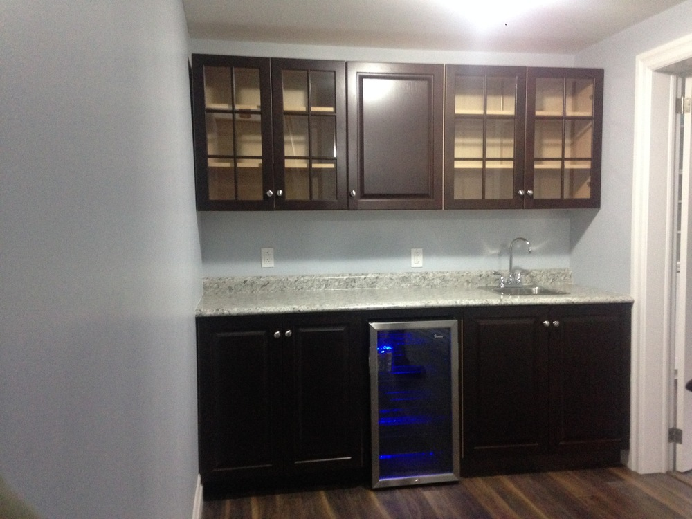 Built-in wet bar and cabinets
