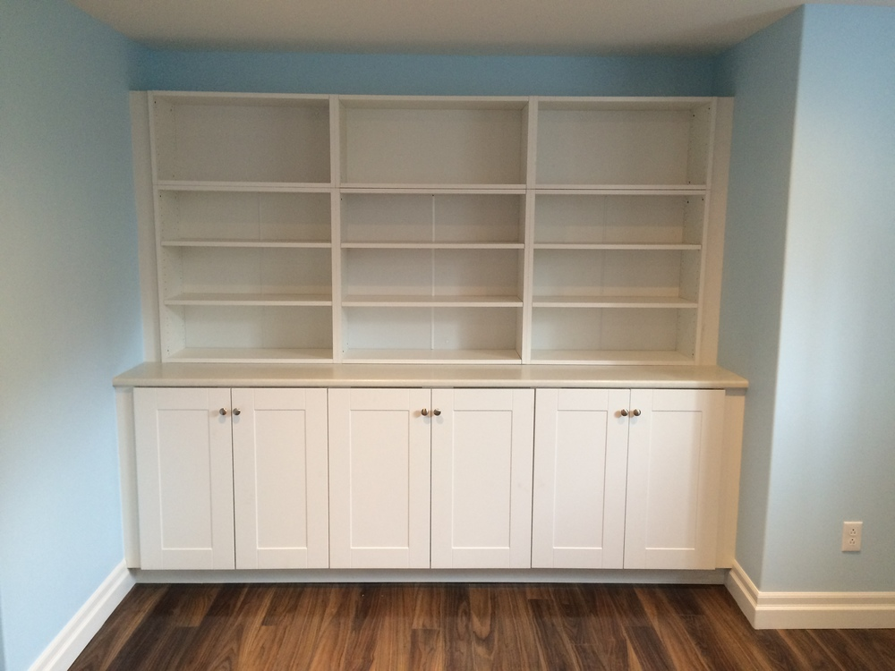 Built-in rec room storage