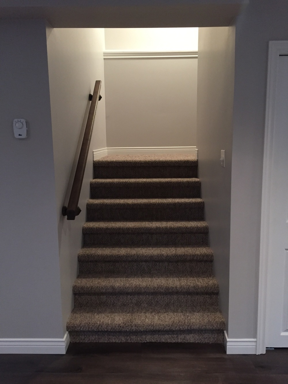 Carpeted stairs to main floor.