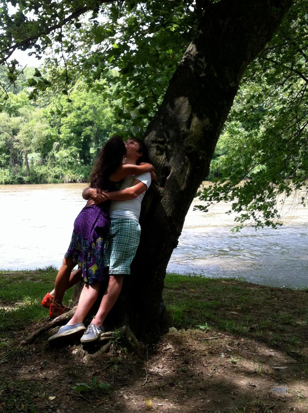 Lovebirds under the tree by the French Broad River, Asheville, NC