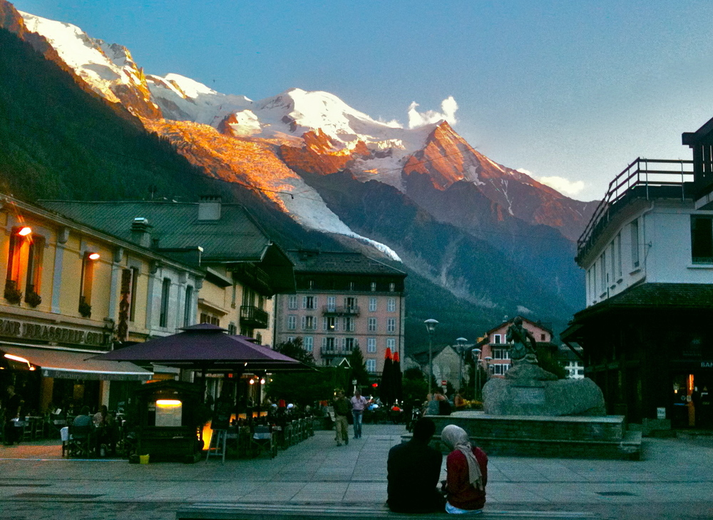 Sunset on Mont Blanc from downtown Chamonix.