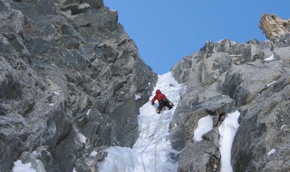 Steep alpine ice on the Albinoni-Gabarrou
