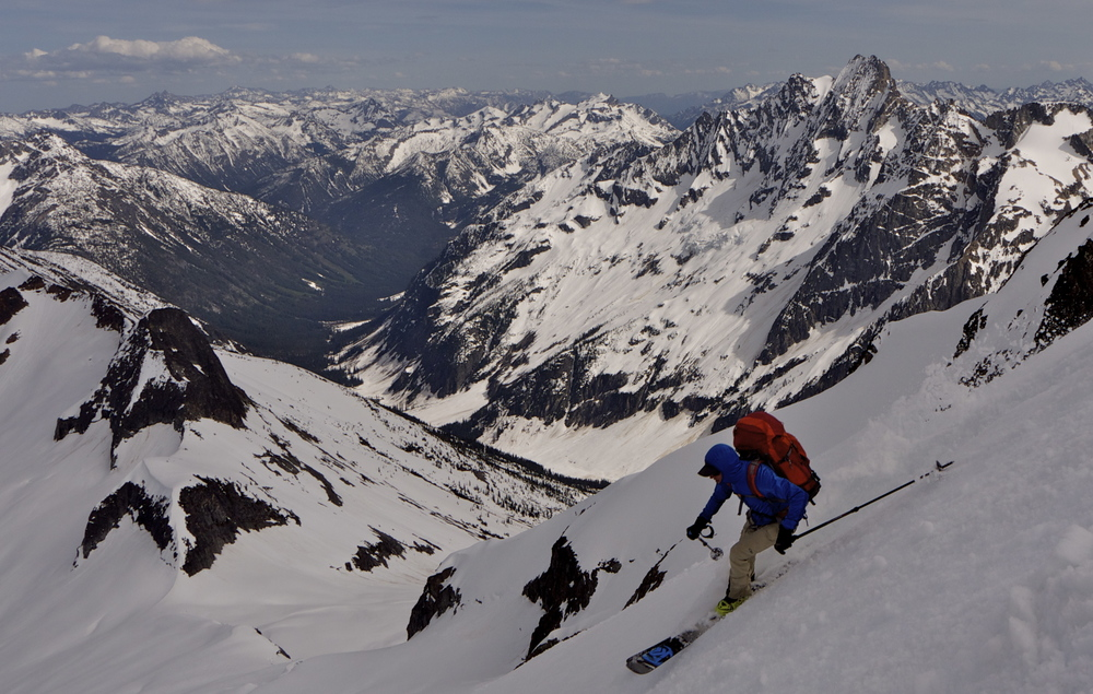 Trevor Kostanich near the summit of Mt. Logan, North Cascades National Park