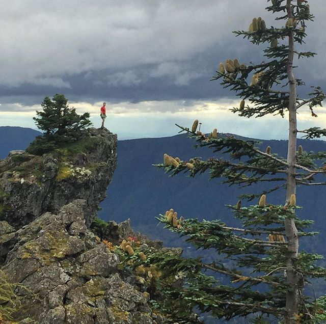 Like Thor surveying his stormy kingdom, @kurthicksguide takes in the Snoqualmie River valley from a mossy perch high on Mt. Si. #loveallmyneighborhoods #ginger
