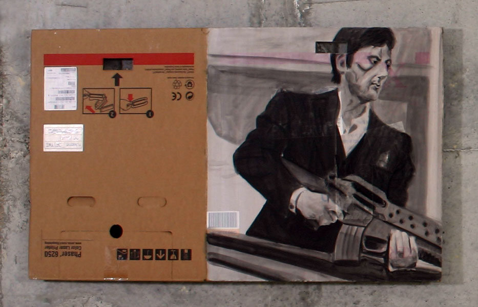 Bad Painting of Scarface     2004; Acrylic on cardboard; 37 X 25""