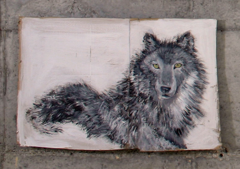 Grey Wolf       2004; Acrylic on cardboard; 36 X 22""