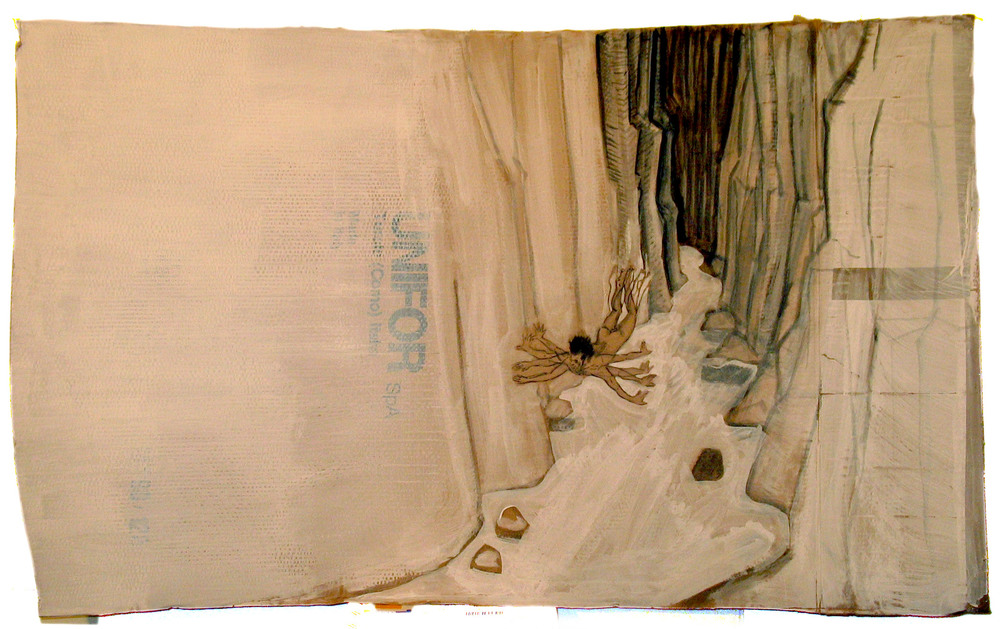 Floater 2004; Acrylic on cardboard; 47 X 27""