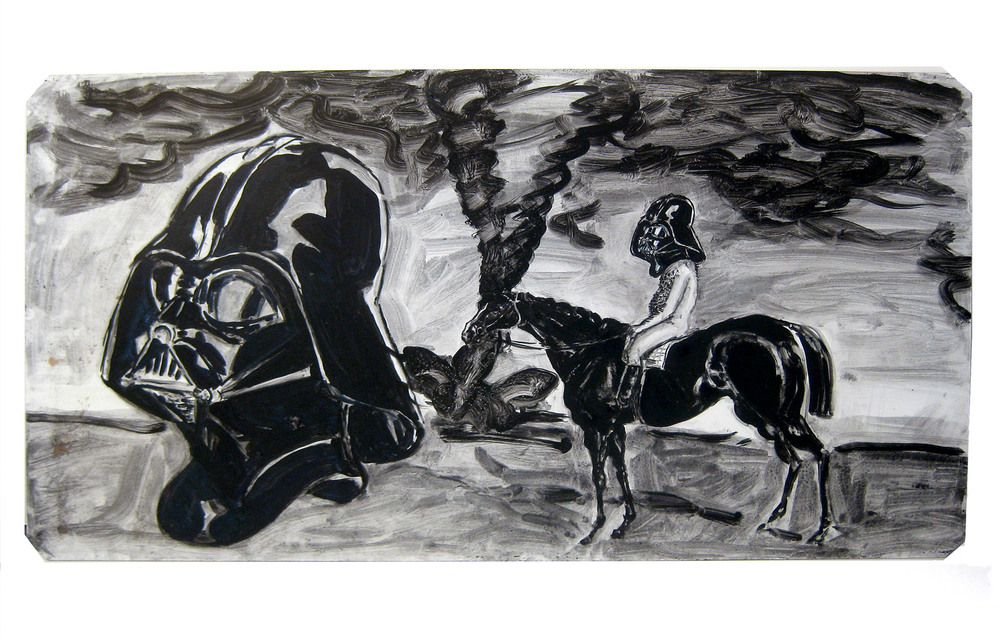A Horse, Naked Man, & a Mask  Oil on wood panel, 2012