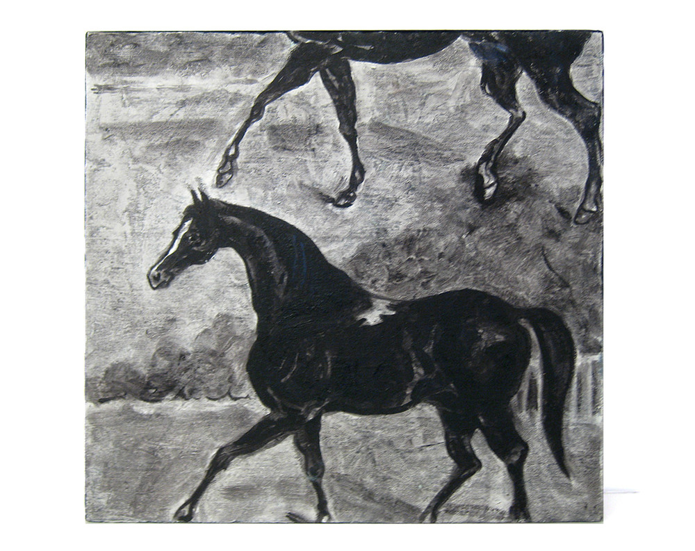 Horse & a Half    Oil on velvet fabric, 2012
