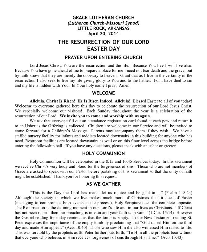 Bulletin - April 20, 2014 (Easter) — Grace Lutheran Church