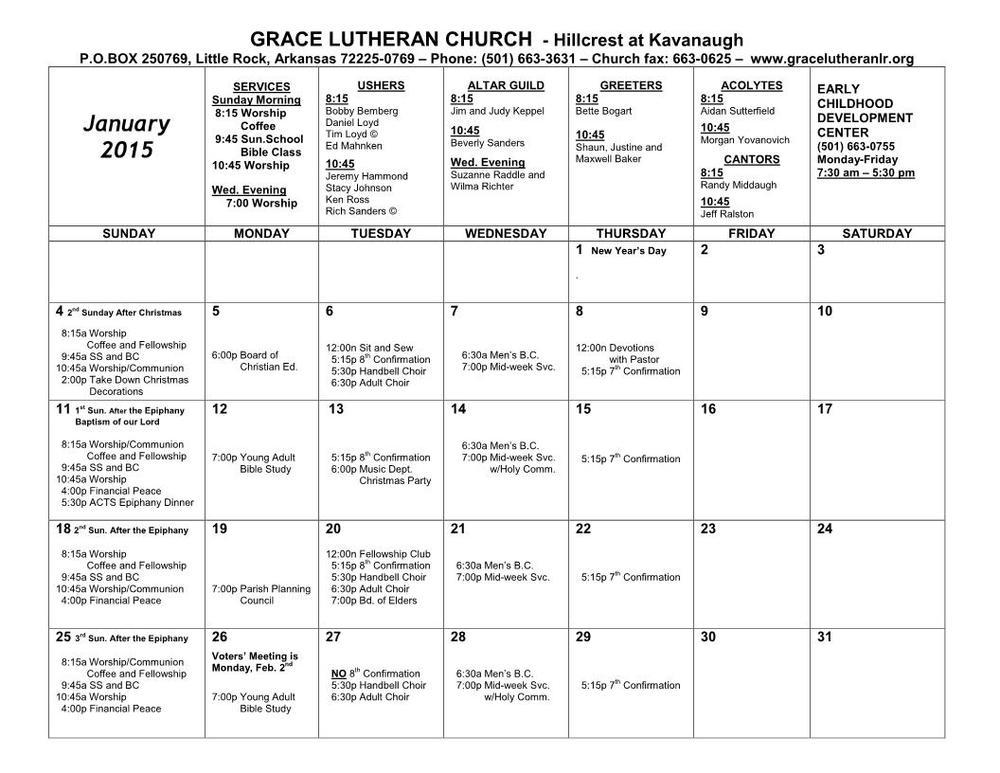 Calendar - January 2015