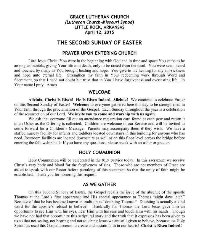 Divine Service for Easter 2B