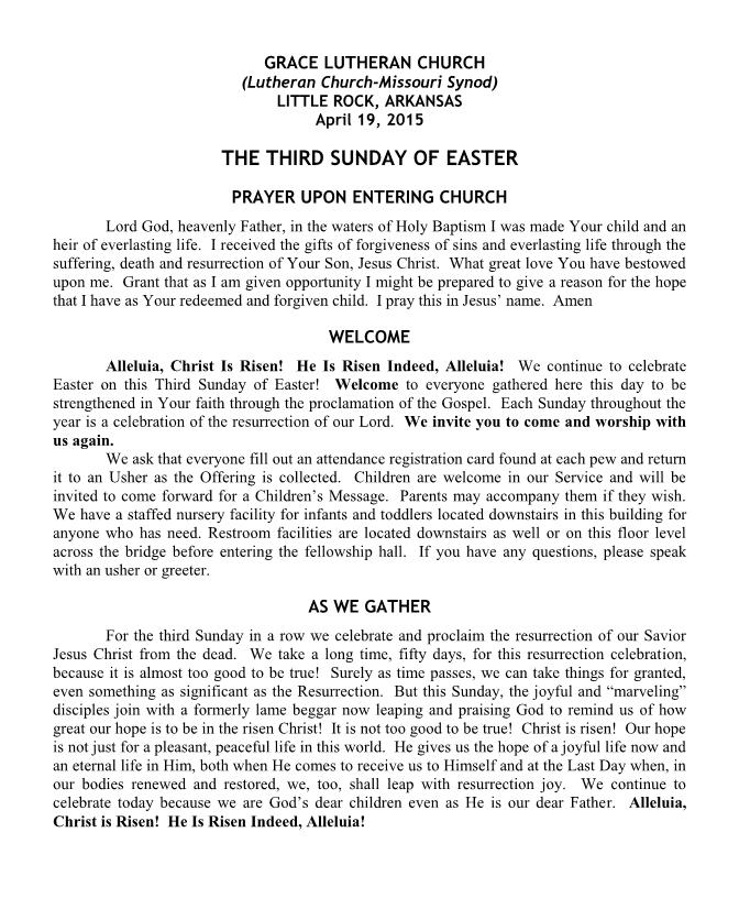 Divine Service for Easter 3B