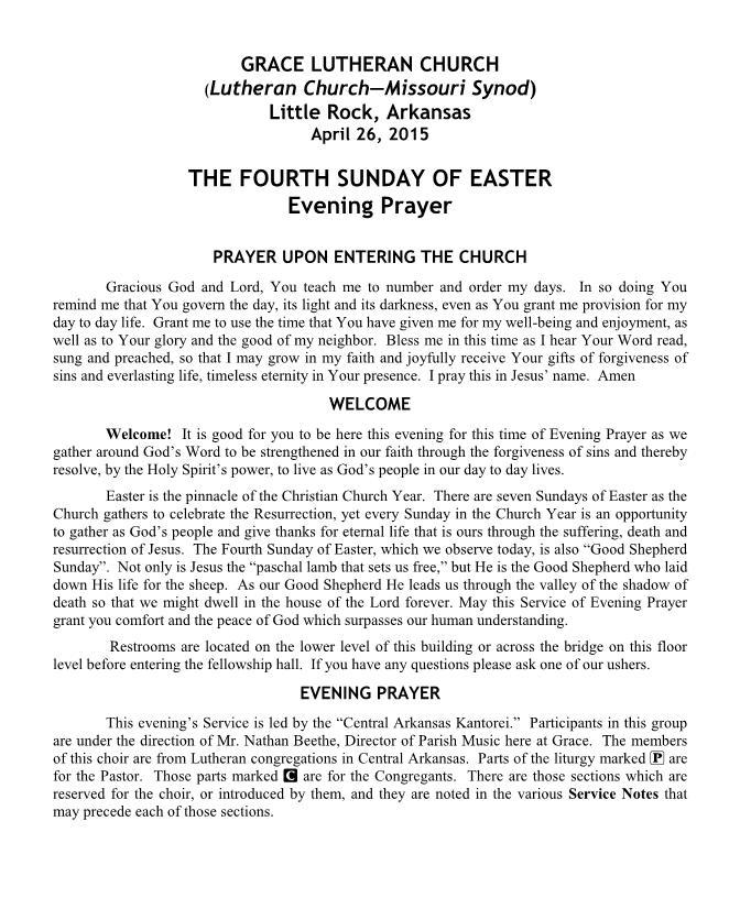 An Easter Service of Evening Prayer - Central Arkansas Kantorei