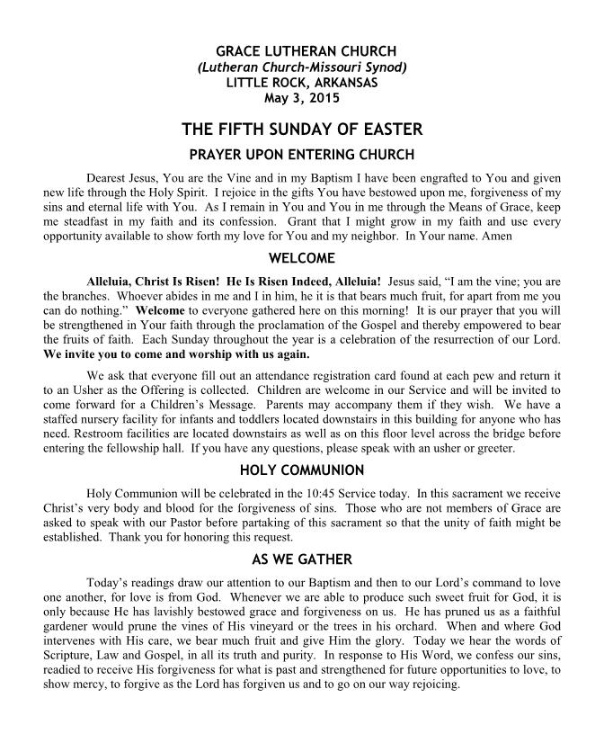 Divine Service for the Fifth Sunday of Easter