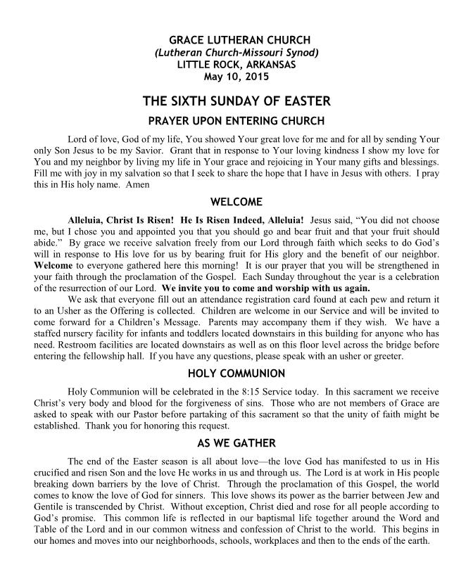 Divine Service for the Sixth Sunday of Easter