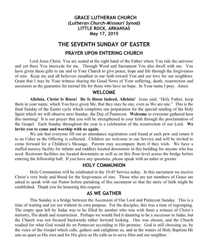 Divine Service for the Seventh Sunday of Easter