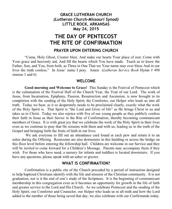 The Day of Pentecost - The Rite of Confirmation