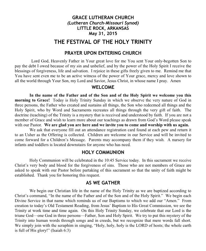 Divine Service for Holy Trinity