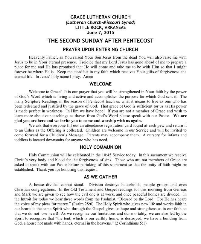 Divine Service for the Second Sunday after Pentecost