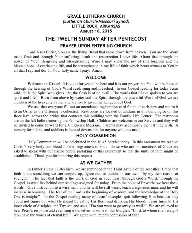 Divine Service for the Twelfth Sunday after Pentecost