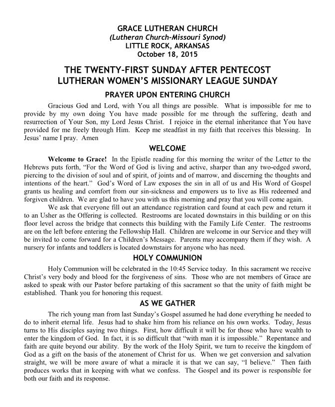 Divine Service for the Twenty-First Sunday after Pentecost