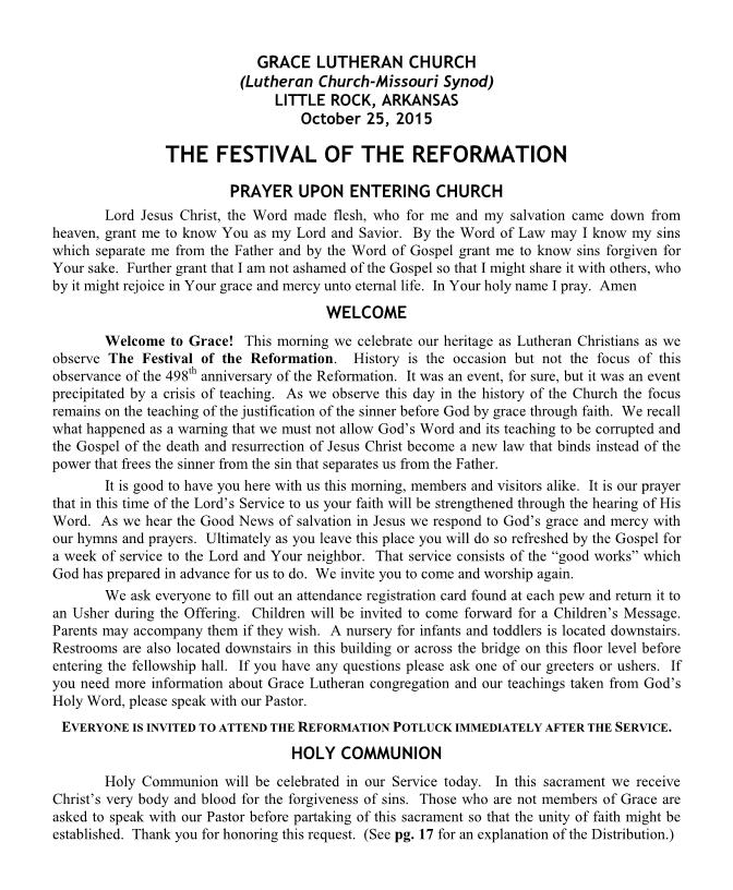 Divine Service for the Festival of the Reformation