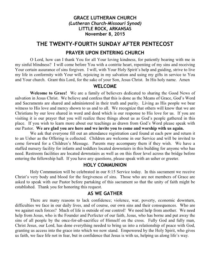 Divine Service for the Twenty-Fourth Sunday after Pentecost