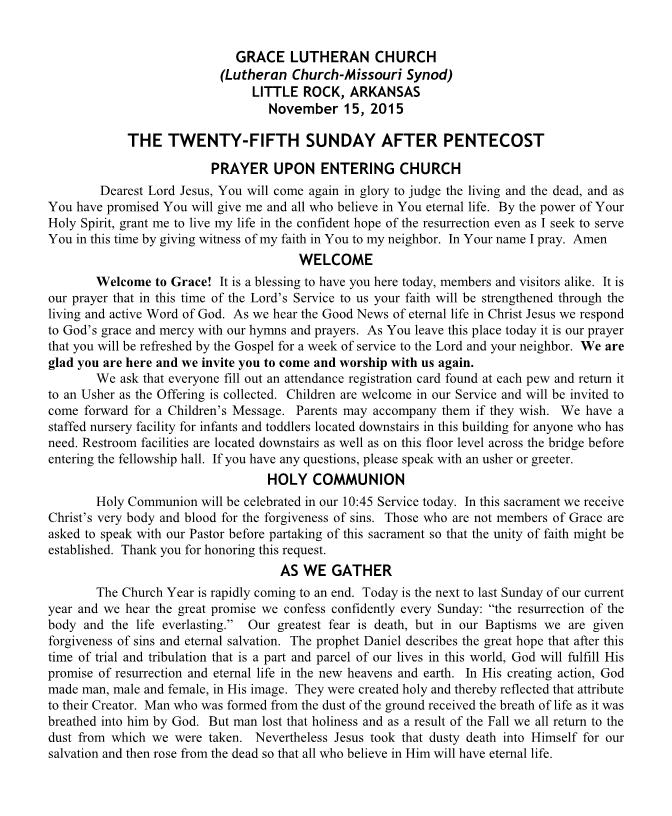 Divine Service for the Twenty-Fifth Sunday after Pentecost