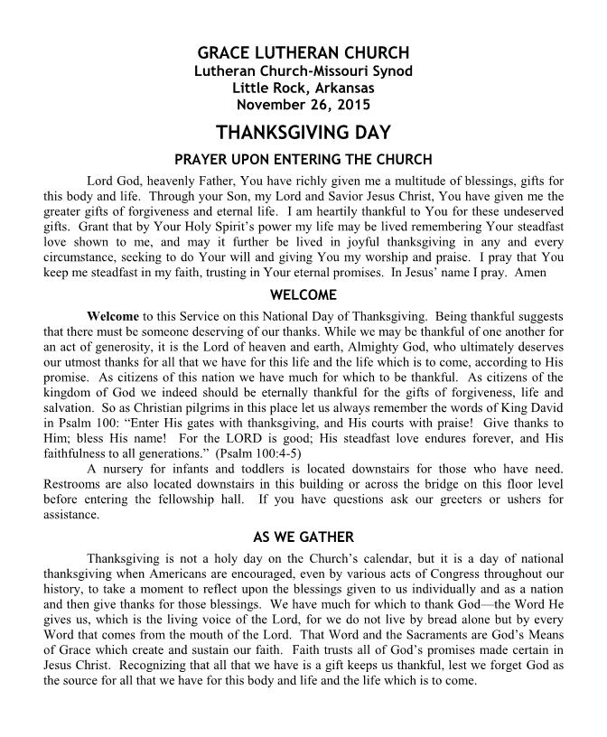 The Order of Matins for Thanksgiving Day