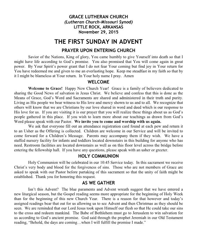 Divine Service for the First Sunday in Advent
