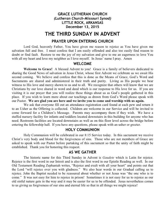 Divine Service for the Third Sunday in Advent