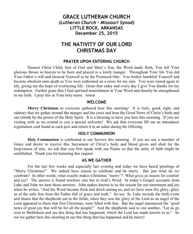 The Order of Divine Service for the Nativity of Our Lord Christmas Day