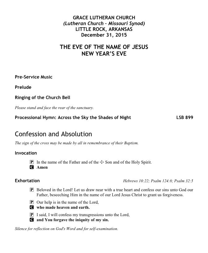 THE EVE OF THE NAME OF JESUS - NEW YEAR'S EVE