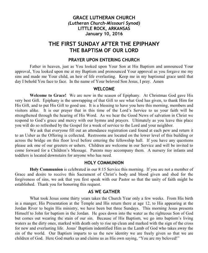 The First Sunday After The Epiphany - The Baptism of our Lord