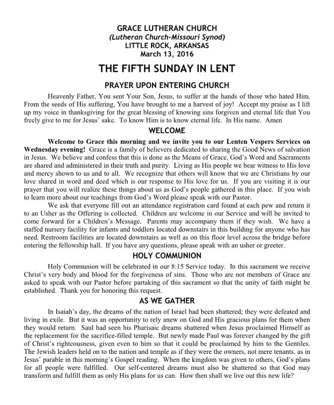 The Fifth Sunday in Lent