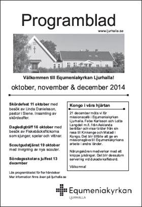Det nya enklare programbladet från Equmeniakyrkan Ljurhalla och Equmeniakyrkan Skogsbygden.
