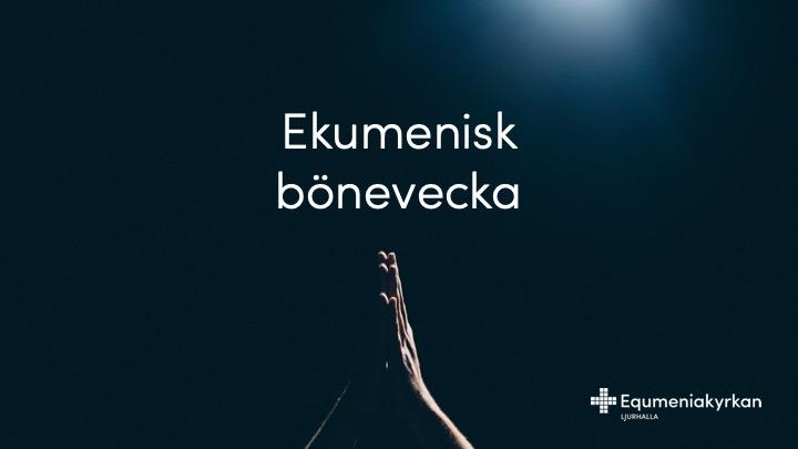 14-20 januari är det ekumenisk bönevecka i hela Vårgårda. 18 januari kl 19:00 är det en ekumenisk gudstjänst i Equmeniakyrkan Vårgårda där Runar Eldebo talar och Helena Gatås m.fl. sjunger och spelar. Lördagen 19 januari kl 20:00 är det WAY - ett ungdomsmöte där Christoffer Öhrvall talar och ett lovsångsband från Södra Vätterbygdens Folkhögskola sjunger och spelar. Böneveckan avslutas med en ekumenisk gudstjänst i Asklanda-Ornunga på söndag 20:e januari kl 10:00. Talare är Filip Stensman , musiken står Nårunga Kyrkokör för och det är barnmöte för barnen.