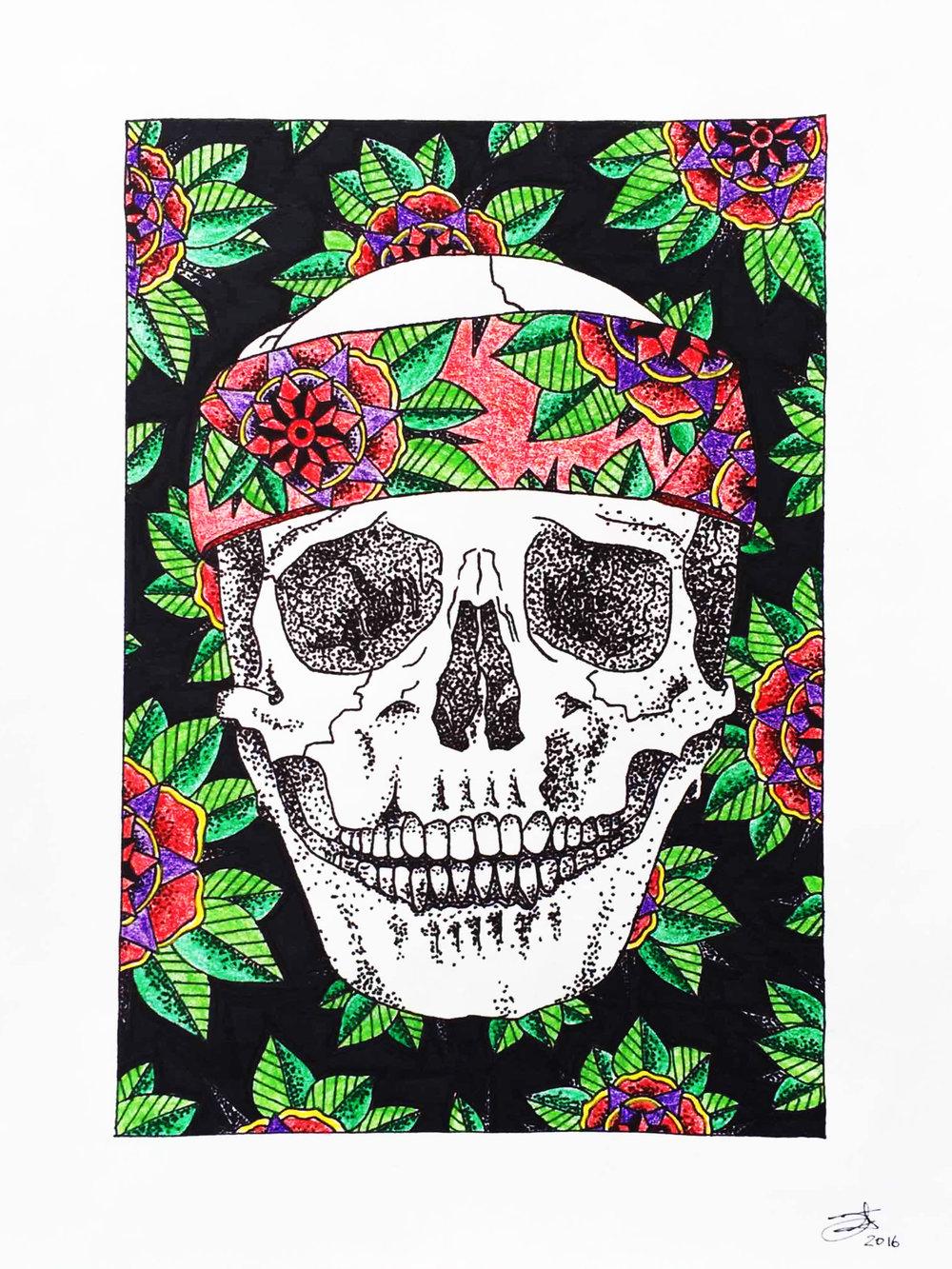 studiojeffrey_illustration_skullheadbandflowers