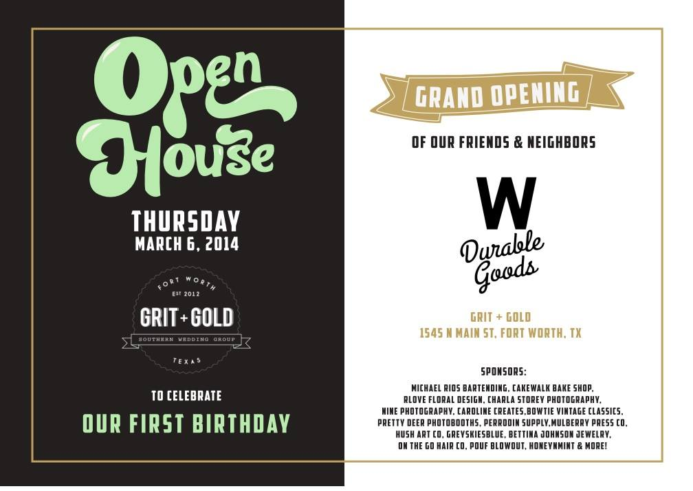 Tonight's the night! Come celebrate Grit and Gold LLC's 1 year anniversary with The Brides of North Texas, R Love Floral Designs,Charla Storey Photography, Caroline Creates, Bowtie Vintage Classics LLC + Pretty Deer Photobooths!