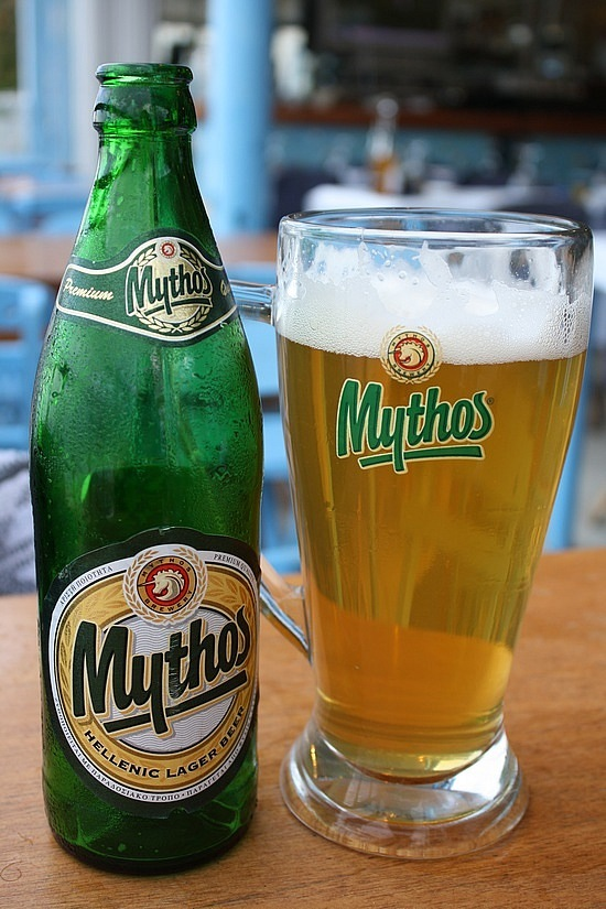 Now serving Mythos Beer